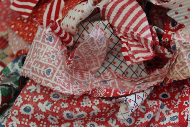 red prints 30s 40s 50s vintage cotton scraps bundle for quilting sewing craft projects