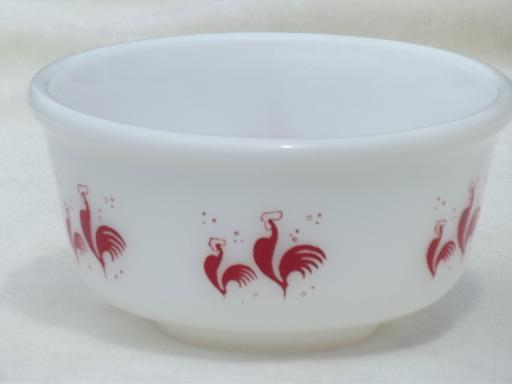 red rooster vintage Anchor Hocking milk glass bowl, Kellogg's rooster