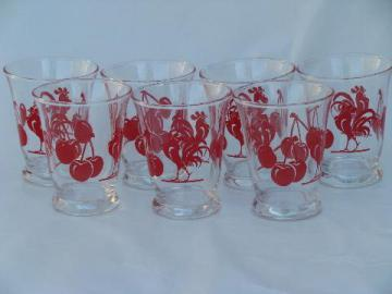 red roosters and cherries swanky swig vintage glasses, 50s print tumblers