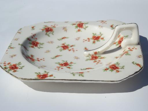 red rose chintz china lemon server handled plate, vintage Japan