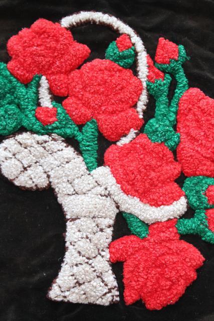 Red Roses On Black Velvet Bohemian Vintage Pillow Top