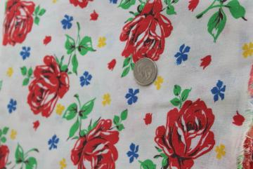 red roses print cotton feed sack, 40s 50s vintage feedsack fabric for sewing projects