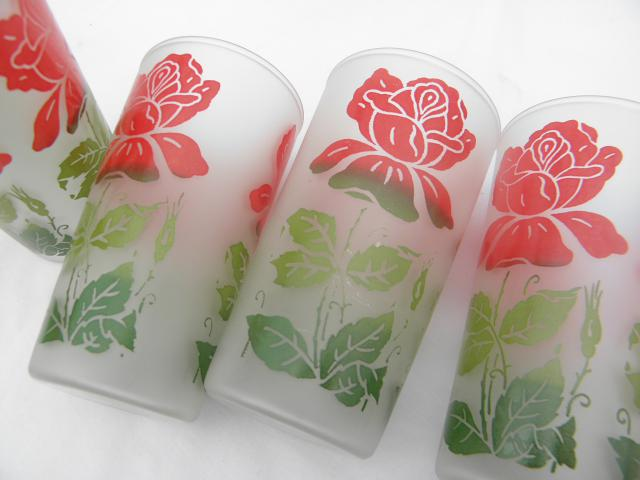 red roses vintage frosted glass drinking glasses, set of 6 retro swanky swigs tumblers