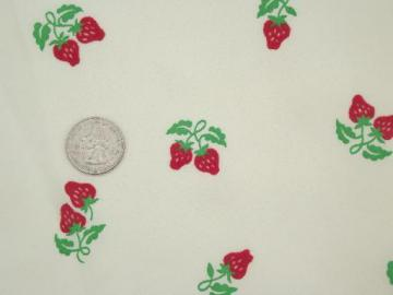 red strawberries flocked fabric, retro 60s 70s vintage poly  crepe fabric