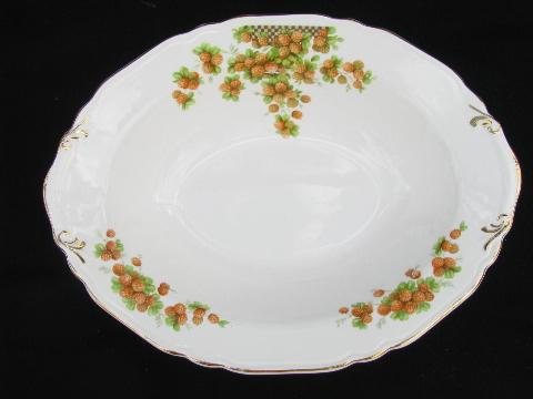 red strawberries, vintage Crown Potteries strawberry china, lot of serving bowls