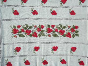 red strawberry afghan, crochet blanket w/ hand embroidered strawberries