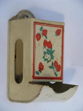 red strawberry match safe, vintage wall mount box for kitchen matches box