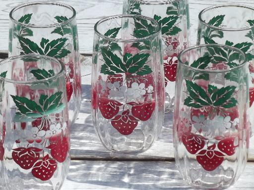 red strawberry print tumblers, vintage kitchen jelly jar ...