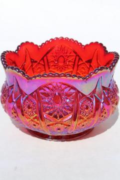 red sunset carnival glass rose bowl, Heirloom pattern vintage Indiana glass