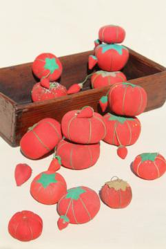 red tomato pincushions, vintage pin cushion collection in primitive wood box bowl