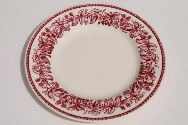 red transferware Wedgwood china Mayfair pattern Williams-Sonoma salad plates  sc 1 st  Laurel Leaf Farm : williams sonoma everyday dinnerware - Pezcame.Com