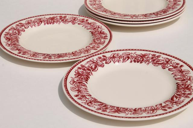 Red Transferware Wedgwood China Mayfair Pattern Williams Sonoma Salad Plates