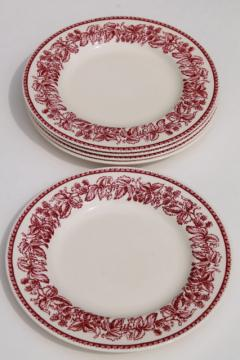 red transferware Wedgwood china, Mayfair pattern Williams-Sonoma salad plates