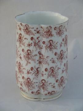 red transferware chintz china, antique white ironstone toothbrush holder