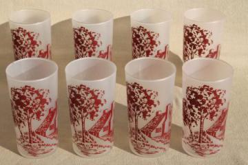 red & white Currier and Ives drinking glasses, vintage glassware set of 8 tumblers