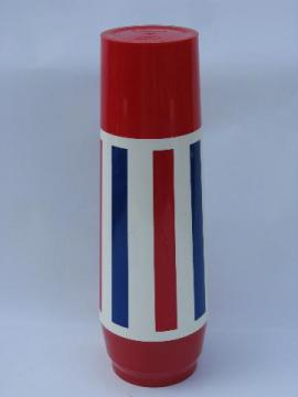red, white & blue retro striped plastic thermos, vintage Thermo-Serv