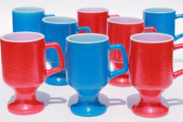red white & blue vintage milk glass mugs or tall cups, orange peel texture glass