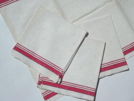 red & white cotton kitchen towels, vintage dish towel set of 4