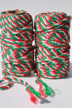 red white green candy stripe twist braid, gift tying trim rattail satin cord