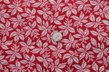 red & white print cotton plisse, summery cotton crinkle fabric, 50 vintage