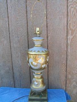 regency glass lamp, floral gold