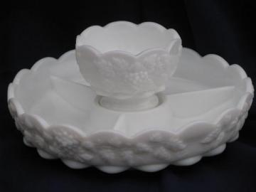 relish tray and sauce bowl Westmoreland paneled grape vintage grapes milk glass
