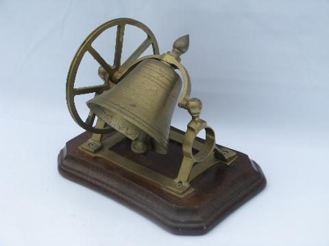 - Reproduction Antique Solid Brass Bell W/ Hand Wheel, Desk Or Counter