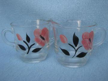 retro 1950s pink & black flowers hand-painted glass cream & sugar