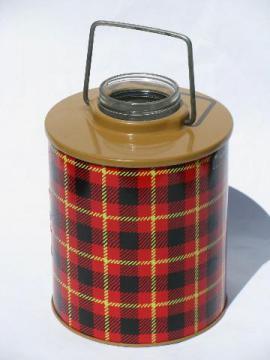 retro 1950s vintage Skotch tartanware plaid picnic jug cooler bottle