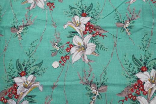 Retro 1950s Vintage Floral Print Cotton Fabric Large