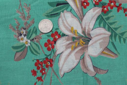 584827561e retro 1950s vintage floral print cotton fabric, large lilies on jade green