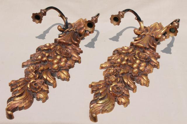 retro 1970s vintage gold Syroco plastic wall sconce set, pair of huge candle sconces