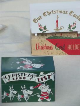 retro 50s vintage Christmas print metal card file box & letter holder