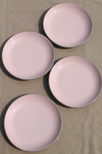 retro 50s vintage Harker stone china shell pink \u0026 grey sandwich / salad plates & retro 50s vintage Harker stone china shell pink \u0026 grey sandwich ...
