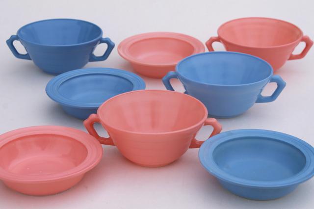Retro 50s Vintage Hazel Atlas Moderntone Platonite Bowls
