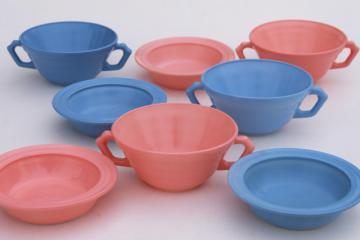retro 50s vintage Hazel Atlas Moderntone platonite bowls & cream soups, pastel pink & blue