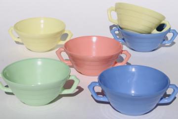 retro 50s vintage Hazel Atlas Moderntone platonite pastels cream soup bowls, pastel colors