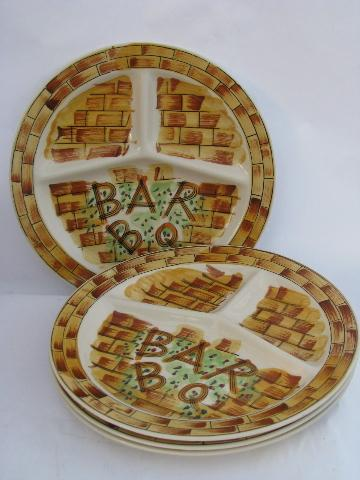 retro 50s vintage hand-painted pottery divided plates, for picnic / barbeque grill