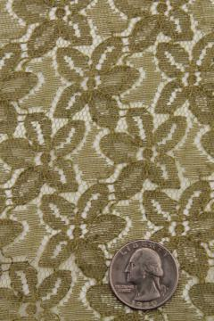 retro 60s 70s vintage green lace fabric, allover full width lace for sewing or crafts