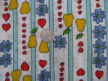 retro 60s fruit print, bright vintage cotton seersucker fabric