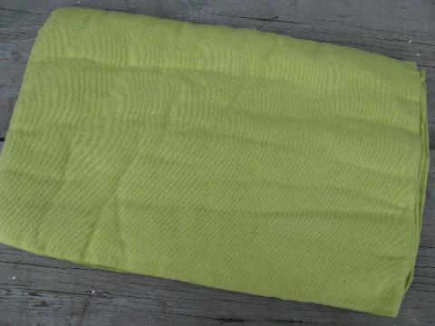 retro 60s lime green blankets, vintage sheet blanket & bed blanket
