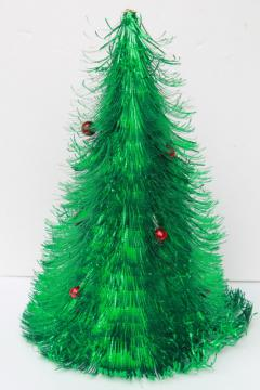 retro 60s vintage Christmas decoration, fluffy green tinsel shag tabletop tree