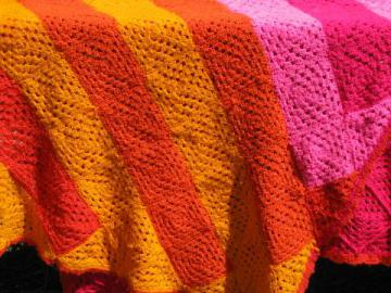 retro 60s vintage crochet afghan, shocking pink, flame orange & gold