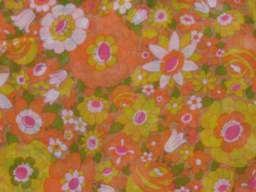 retro 60s vintage fabric, crisp sheer cotton w/ bright flowers print