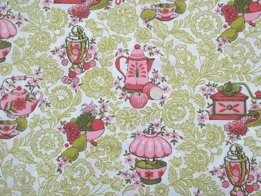 retro 60s vintage kitchen print cotton fabric, candy pink ...