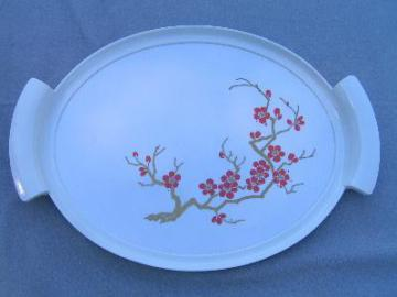 retro 60's vintage melmac tray, oriental red flowers