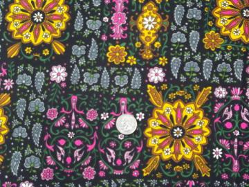 retro 60s vintage poly tricot knit fabric, India style print brights on black