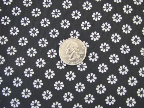 retro 60s vintage print cotton / rayon fabric, mod white daisy flowers on black