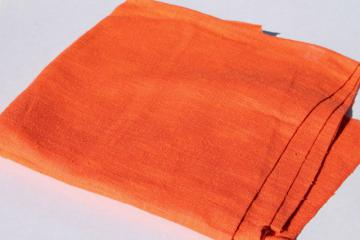 retro 60s vintage pure linen fabric, tangerine orange solid color