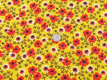 retro 60s vintage yellow and red calico flowered print cotton fabric